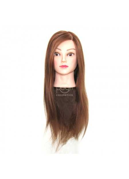TRAINING HEAD WITH NATURAL BROWN HAIR
